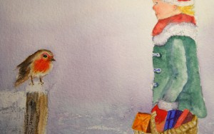 Christmas Design With Robin Watercolour By Marianne E Richards